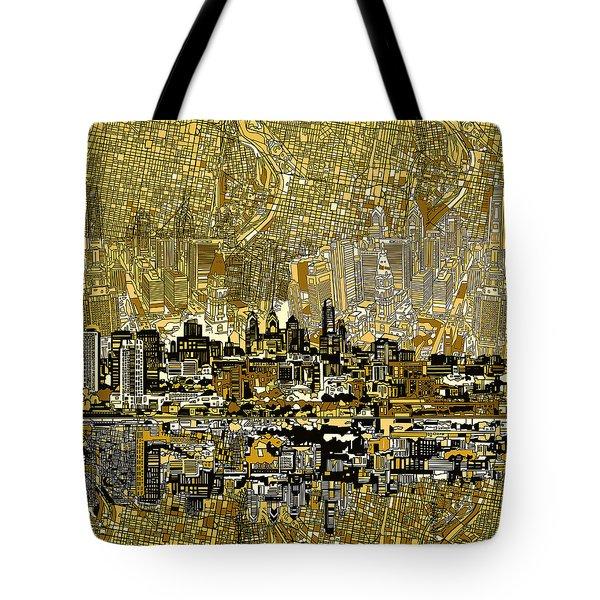 Philadelphia Skyline Abstract 3 Tote Bag