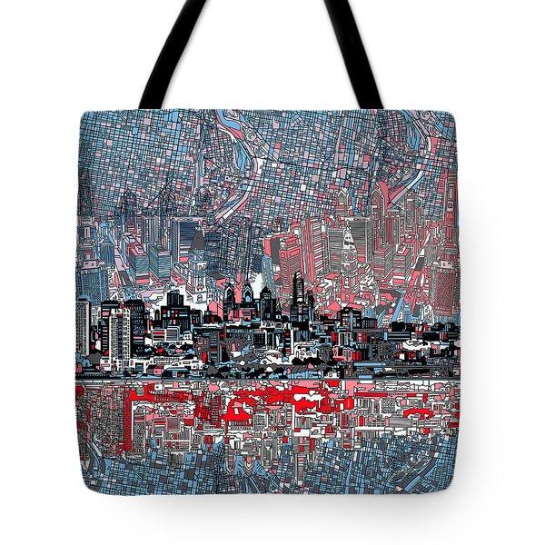 Philadelphia Skyline Abstract Tote Bag