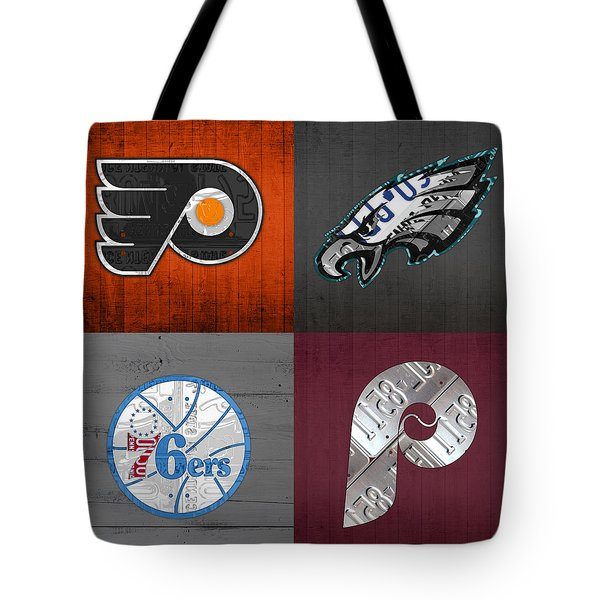 Philadelphia Sports Fan Recycled Vintage Pennsylvania License Plate Art Flyers Eagles 76ers Phillies Tote Bag by Design Turnpike