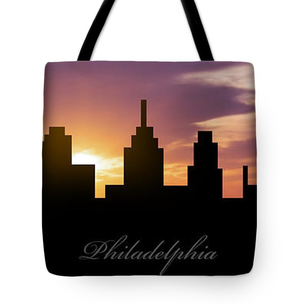 Philadelphia Sunset Tote Bag by Aged Pixel