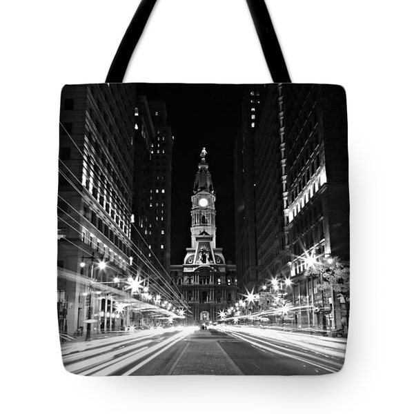 Philadephia City Hall -- Black And White Tote Bag by Stephen Stookey