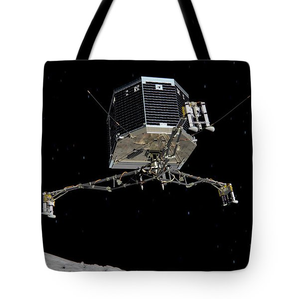 Tote Bag featuring the photograph Philae Lander Descending To Comet 67pc-g by Science Source