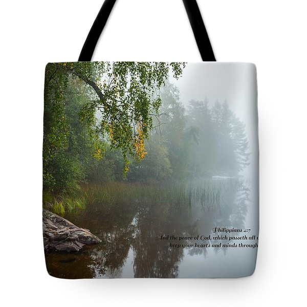 Philippians 4 Verse 7 Tote Bag by Rose-Maries Pictures
