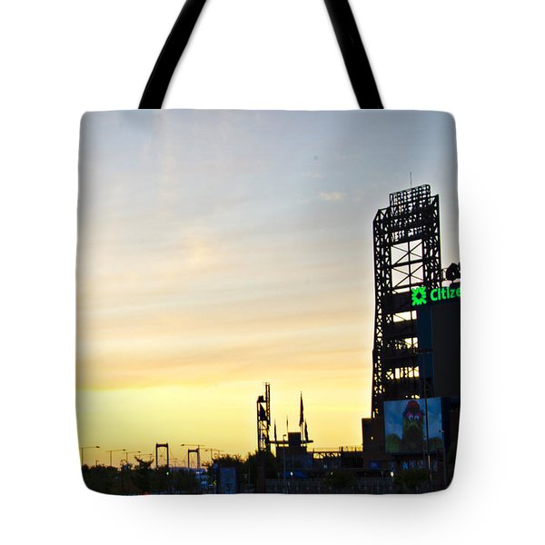 Phillies Stadium At Dawn Tote Bag by Bill Cannon