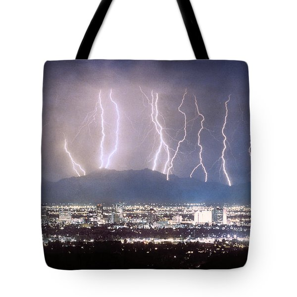 Phoenix Arizona City Lightning And Lights Tote Bag by James BO  Insogna
