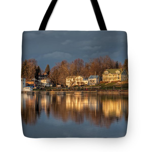Reflection Of A Village - Phoenix Ny Tote Bag by Everet Regal