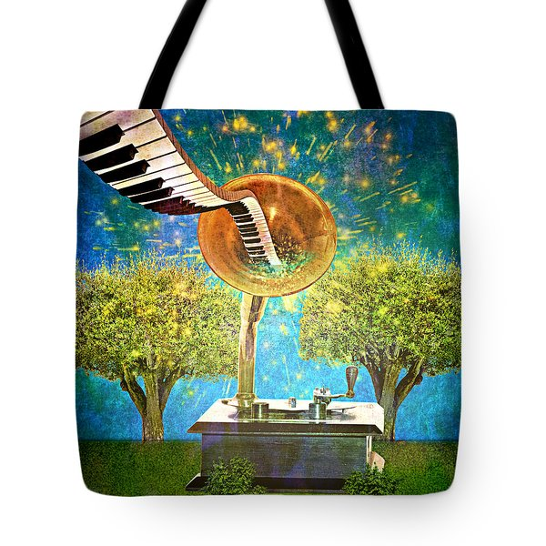 Phonograph Magic Tote Bag by Ally  White
