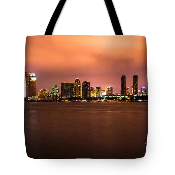 Photo Of San Diego At Night Tote Bag by Paul Velgos