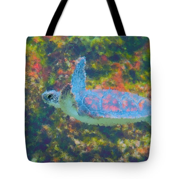 Photo Painting Of Sea Turtle Tote Bag by Dan Friend