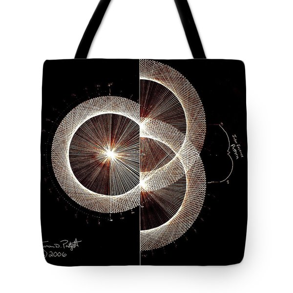 Tote Bag featuring the drawing Photon Double Slit Test Hand Drawn by Jason Padgett