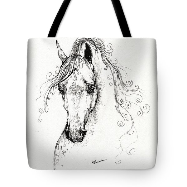 Piaff Polish Arabian Horse Drawing Tote Bag by Angel  Tarantella