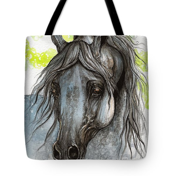 Piaff Polish Arabian Horse Watercolor  Painting 1 Tote Bag by Angel  Tarantella