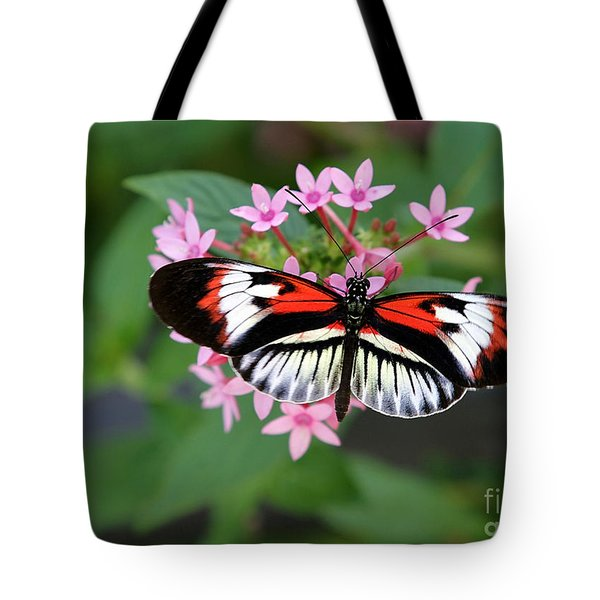 Tote Bag featuring the photograph Piano Key Butterfly On Pink Penta by Sabrina L Ryan