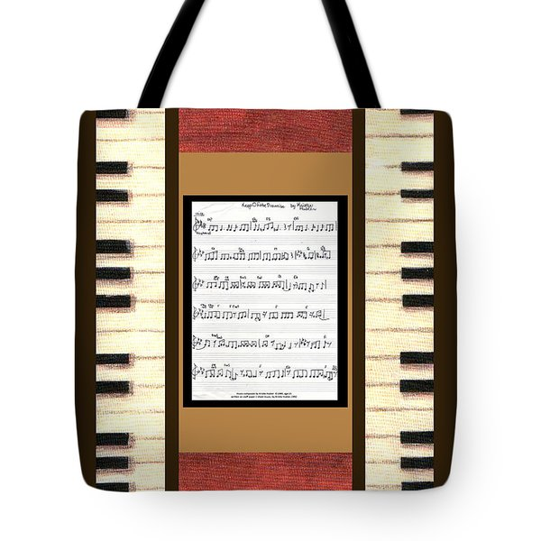 piano keys sheet music to Keep Of The Promise by Kristie Hubler Tote Bag by Kristie Hubler