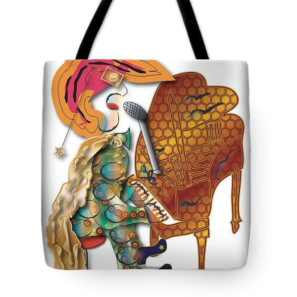 Tote Bag featuring the digital art Piano Man by Marvin Blaine