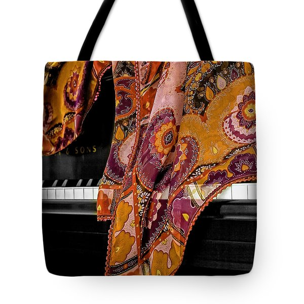 Piano With Scarf Tote Bag by Madeline Ellis