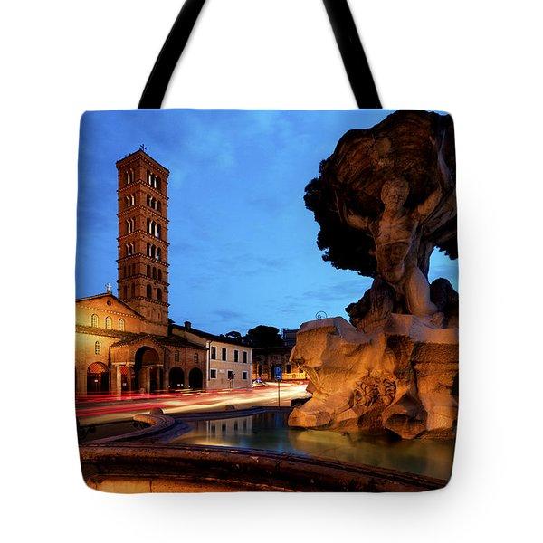 Piazza Della Bocca Della Verita' Tote Bag