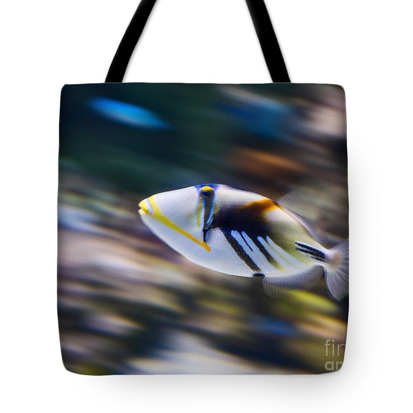 Picasso - Lagoon Triggerfish Rhinecanthus Aculeatus Tote Bag by Jamie Pham