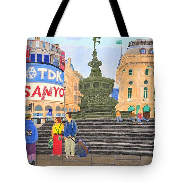 Tote Bag featuring the painting London- Piccadilly Circus by Magdalena Frohnsdorff
