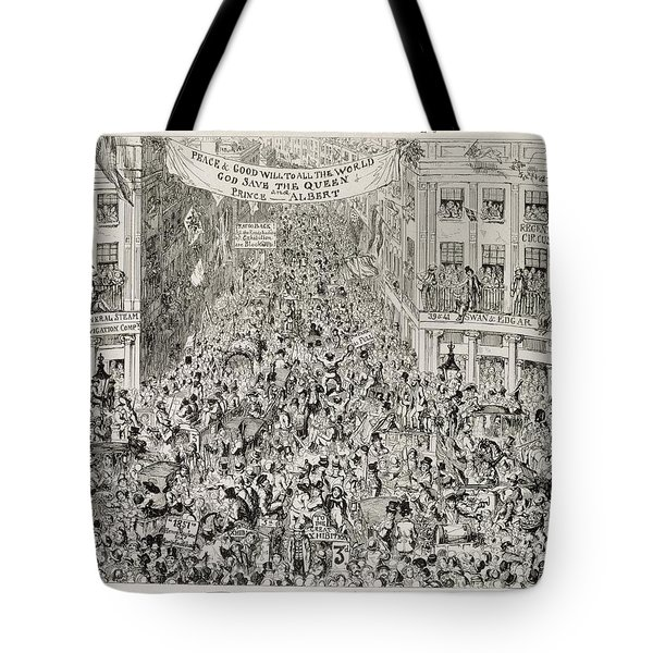 Piccadilly During The Great Exhibition Tote Bag by George Cruikshank