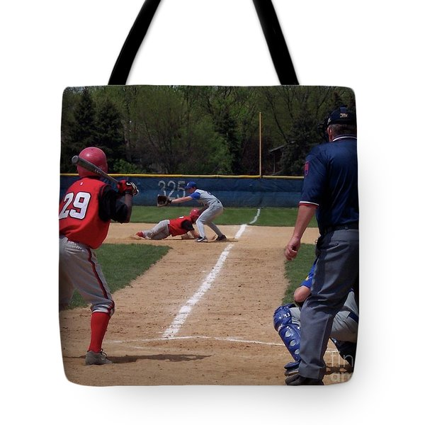 Pick Off Attempt At 1st Base Tote Bag by Thomas Woolworth