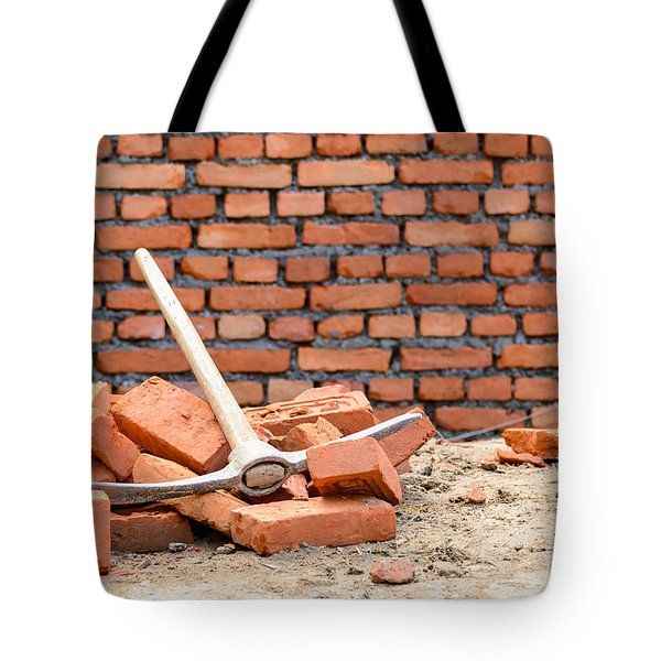 Pickaxe On A Construction Site Tote Bag