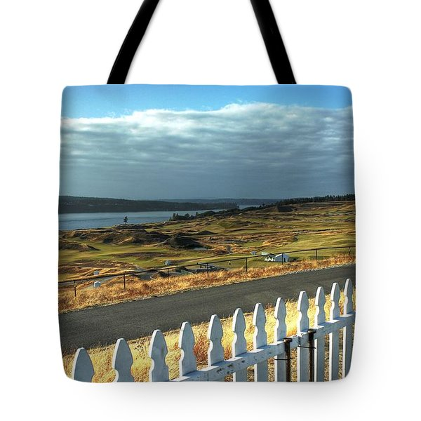 Tote Bag featuring the photograph Picket Fence - Chambers Bay Golf Course by Chris Anderson