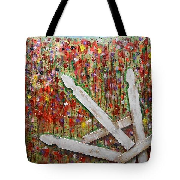 Picket Fence Flower Garden Tote Bag