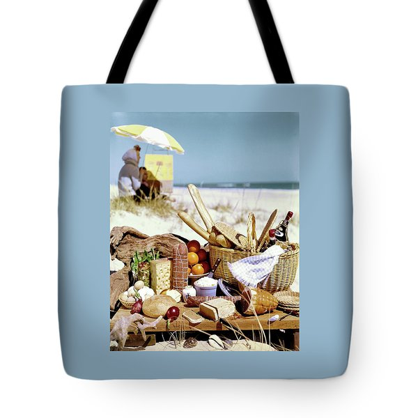 Picnic Display On The Beach Tote Bag