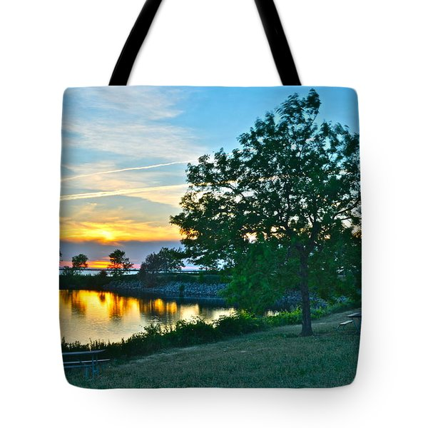 Picnic Lake Tote Bag by Frozen in Time Fine Art Photography
