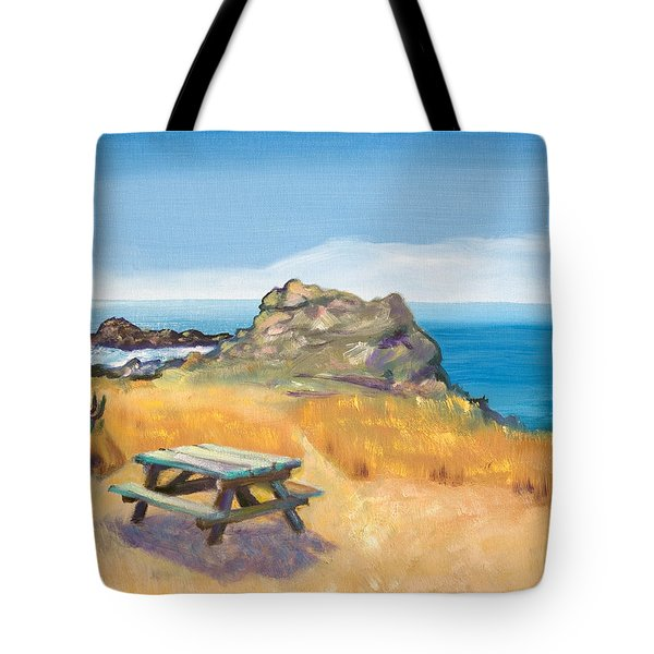 Picnic Table And Ocean With Yellow Field Tote Bag