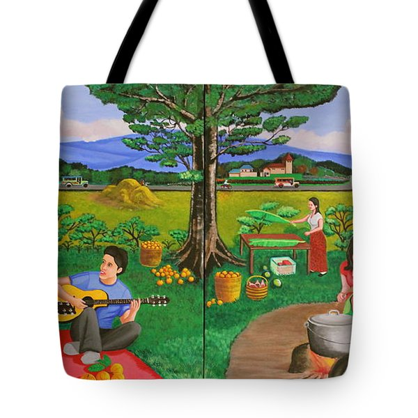 Picnic With The Farmers And Playing Melodies Under The Shade Of Trees Tote Bag by Lorna Maza