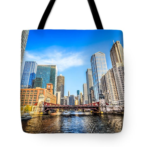 Picture Of Chicago At Lasalle Street Bridge Tote Bag by Paul Velgos