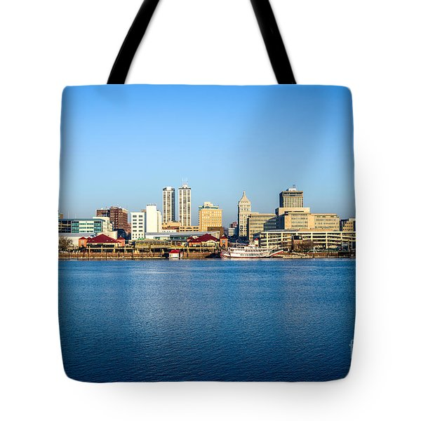 Picture Of Peoria Illinois Skyline Tote Bag by Paul Velgos
