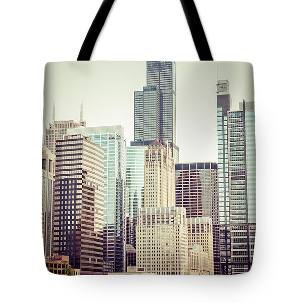 Picture Of Vintage Chicago With Sears Willis Tower Tote Bag