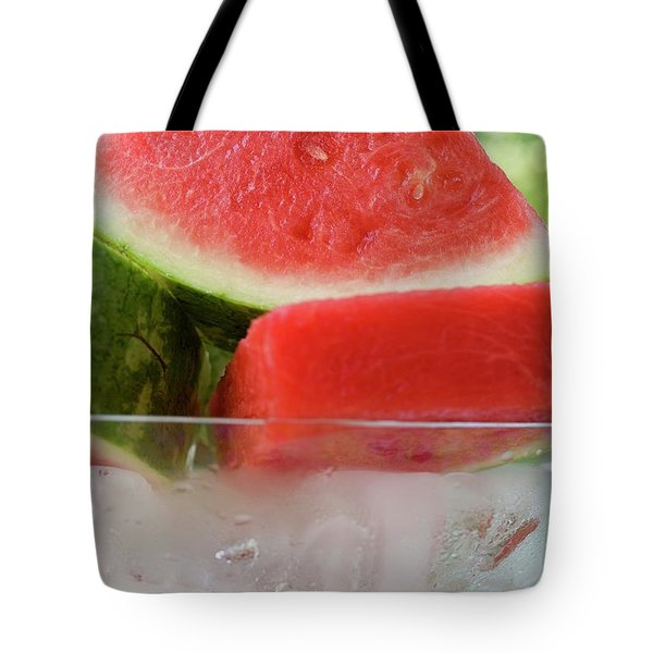 Pieces Of Watermelon In A Bowl Of Ice Cubes Tote Bag