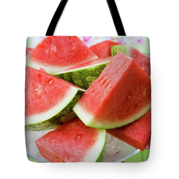 Pieces Of Watermelon On A Glass Platter Tote Bag