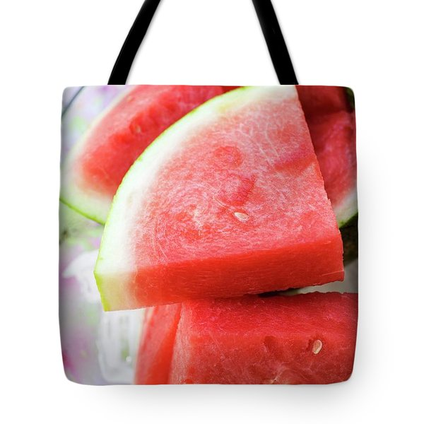 Pieces Of Watermelon On A Platter Tote Bag