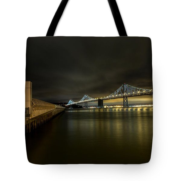 Pier 14 And Bay Bridge At Night Tote Bag