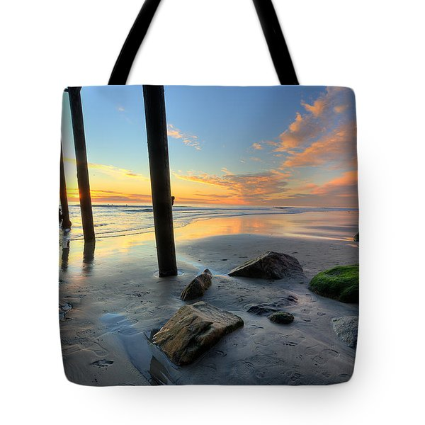 Pier And Sunset Tote Bag