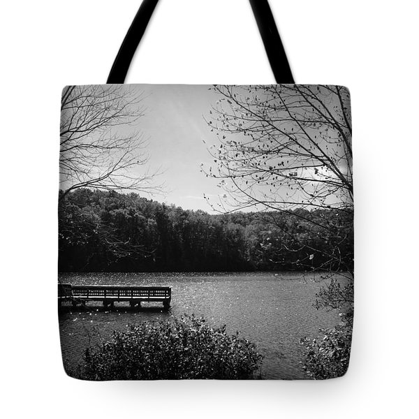 Pier At Table Rock In Black And White Tote Bag