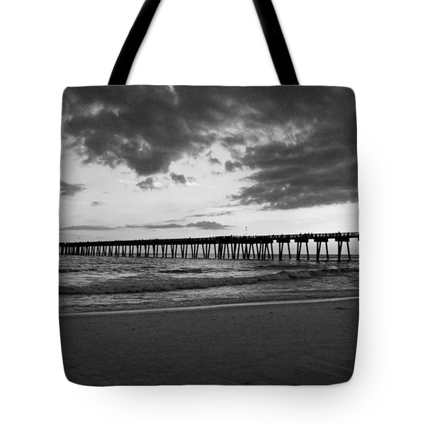 Pier In Black And White Tote Bag by Sandy Keeton