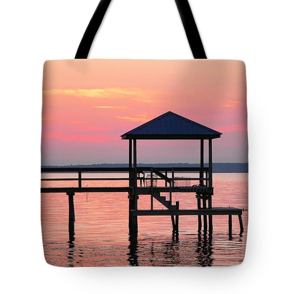 Pier In Pink Sunset Tote Bag