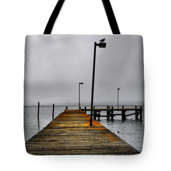 Pier Into The Fog Tote Bag