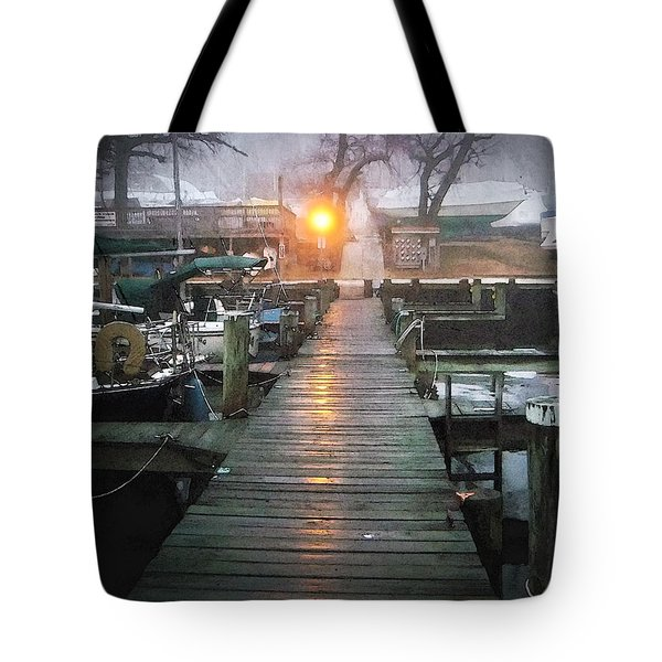 Pier Light - Watercolor Effect Tote Bag by Brian Wallace