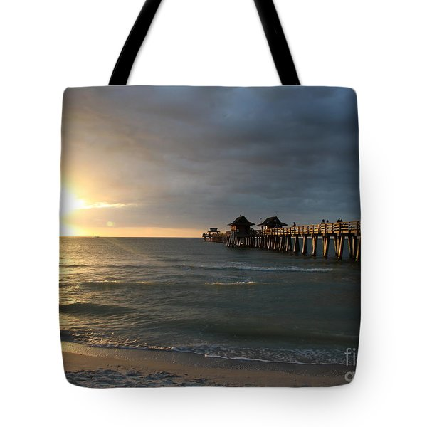 Pier Sunset Naples Tote Bag by Christiane Schulze Art And Photography