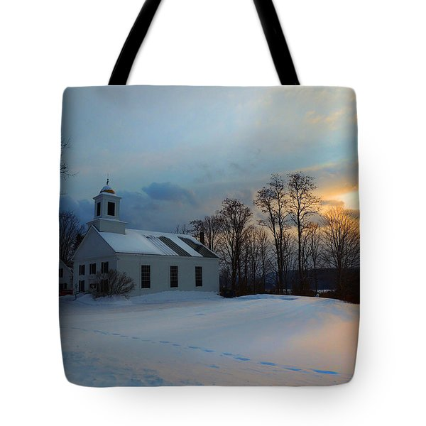 Piermont Church In Winter Light Tote Bag