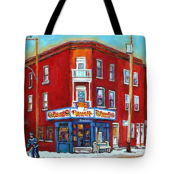 Pierrette Patates Restaurant - Paintings Of Verdun - Verdun Winter Scenes -verdun Hockey Scenes Tote Bag by Carole Spandau
