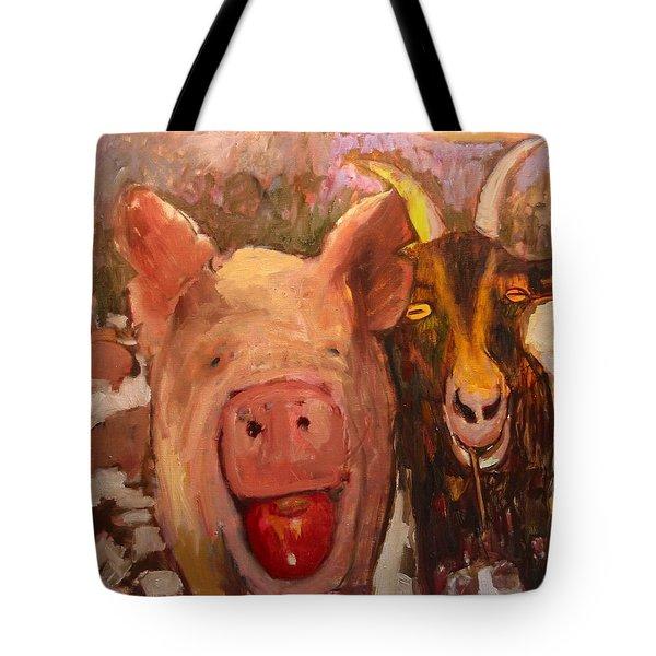 Pig And Goat Tote Bag