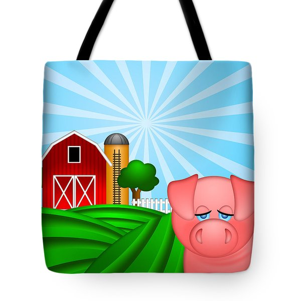 Pig On Green Pasture With Red Barn With Grain Silo  Tote Bag by Jit Lim